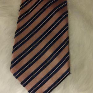 Burma Bibas Pink Blu British Regimental Stripe Tie